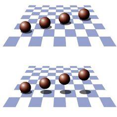 Het lijkt alsof de ballen op het bovenste schaakbord liggen en boven het onderste schaakbord zweven. |De positie van de ballen is gelijk. Alleen de 'schaduw' is verplaatst.