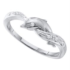 10kt White Gold Women's Round Diamond Dolphin Ring .03 Cttw - FREE Shipping in North America