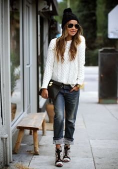 Cable knit sweater, distressed jeans and beanie hat via Sincerely, Jules