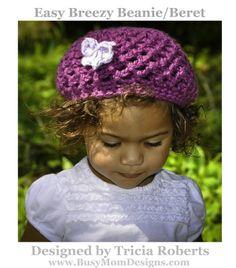 Crochet Pattern - Easy Breezy Beanie Slouch Beret - by Busy Mom Designs