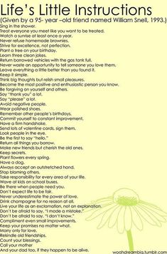 Life's Little Instructions Given By A 95-Year-Old Friend