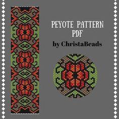 Beading PATTERN Vintage Flowers Peyote Bracelet Pattern Peyote