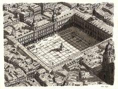 Stefan Bleekrode's Drawings Recreate Cityscapes from Memory,Plaza Mayor, Madrid. Image © Stefan Bleekrode