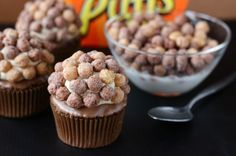 Reese's Puffs cupcakes! Happy Birthday Heath! :)
