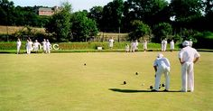 Bowls - History, information & where to buy: showing the origins plus all types of bowls. Lawn, Indoor, Short-mat, Carpet and Crown Green Bowls English Village, Green Bowl, Old Games, Bowling, Pitch, Britain, Lawn, Old Things