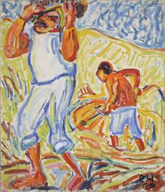 Erich Heckel - Sand Diggers on the Tiber (1909)