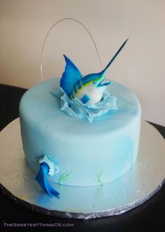 Fisherman Cake! Marble cake with swiss meringue buttercream. fondant Marlin. I named him Manny the Marlin. C=