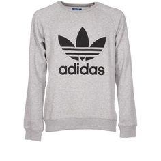 Trefoil Sweatshirt (£35) ❤ liked on Polyvore featuring men's fashion, men's clothing, men's hoodies, men's sweatshirts, mens crew neck sweatshirts, adidas mens sweatshirt, men's grey crew neck sweatshirt, mens grey sweatshirt and mens crewneck sweatshirt