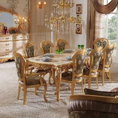 Vendome Gold Formal Dining Table Set: No Longer a Mystery - flipsyourhome Living Room Decor Furniture, Formal Dining Tables, Dining Room Decor, Dining Table Setting, Dining Chairs, Living Room Sofa Set, Luxury Dining, Luxury Dining Room, European Home Decor