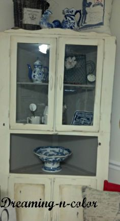 Open Face Farmhouse Corner Cabinet