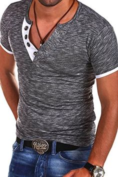 MT Styles V-Neck Buttons T-Shirt Polo BS-544 [Dunkelgrau, L]