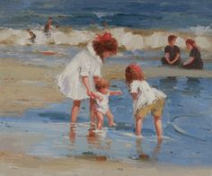 Edward Potthast - Children Playing at the Seashore