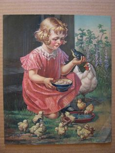 Shop Girl with Chicks. Fine Art Easter Gift Notebook created by oldandclassic. Happy Easter Greetings, Easter Greeting Cards, Easter Cards Religious, Art Calendar, Family Calendar, Vintage Calendar, Jesus Is Risen, Easter Messages, Holiday Postcards