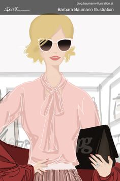 Drawing of a young stylish woman with pink sunglasses and red rose spring summer outfit style as part of a fashion illustration for a shoe manufacturer to visually underline brand features. The digital drawing is done on a graphic tablet step by step with a separate layer for the draft to define the basic human female body proportions of the girl after a rough and simple pencil draft to find creative ideas for the figure drawing as part of the illustrative branding #fashionillustration… Paul Green, Illustrator, Body Proportions, Illustration Mode, Pink Sunglasses, Digital Portrait, Summer Fashion Outfits, Figure Drawing, Fashion Sketches