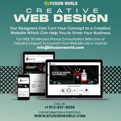 Our Designers Can Turn Your Concept To A Creative Website Which Can Help You To Grow Your Business. For FREE 30 minute phone consultation with one of industry's expert to launch your E-Commerce business via e-mail at info@efusionworld.com. Creative Web Design, E Commerce Business, Responsive Web Design, Web Design Services, Growing Your Business, Fragrance, Product Launch, Website Designs, Concept