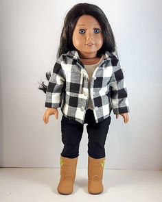 Black And White Jacket, Black White, Flannel Jacket, 18 Inch Doll, Buffalo Plaid, Doll Patterns, Girl Dolls, Sport Outfits, American Girl