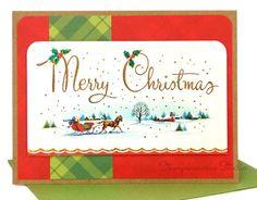 RETRO Green & Red Christmas Card. $2.99, via Etsy.