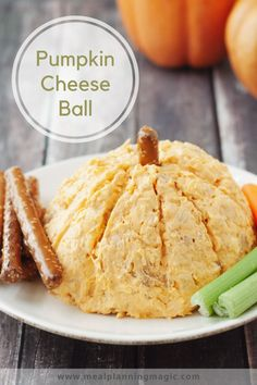 Only a handful of ingredients are all you need for this Easy  Pumpkin Shaped Cheeseball. It makes a perfect appetizer for your fall festivities or just because. Sweet and savory, it's delicious with fresh vegetables or pretzels. Bonus: it's make ahead too! #pumpkincheeseball #pumpkinrecipe #pumpkinfood #makeaheadrecipe Pumpkin Pie Mix, Pumpkin Waffles, Easy Appetizer Recipes, Snack Recipes, Snacks, Pumpkin Recipes, Fall Recipes, Holiday Recipes, Thanksgiving Appetizers