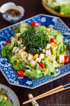 Tofu Salad with Sesame Ponzu Dressing 豆腐サラダ (Just One Cookbook) Tofu Recipes, Healthy Dinner Recipes, Asian Recipes, Vegetarian Recipes, Gourmet Recipes, Chinese Recipes, Healthy Meals, Easy Recipes, Japanese Salad