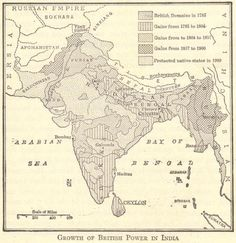 """Imperialism on the Indian subcontinent: British control of India, the """"Jewel in the Crown."""" Map of the growth of British imperial power in India, Great Britain and imperialism in Asia. History Of India, Asian History, European History, British History, American History, History Timeline, History Memes, History Photos, History Classroom"""