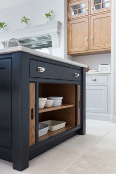 Serving Tray Storage in Island ~ Edwardian Family Home, Barnes Village - Humphrey Munson - Luxury Bespoke Kitchen Bespoke Kitchens, Luxury Kitchens, Home Kitchens, Tuscan Kitchens, Shaker Kitchen, Rustic Kitchen, Kitchen Living, New Kitchen, Kitchen Island