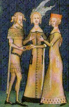 A knight and lady exchange rings, Manuscripts of Guillaume de Machaut, circa 1350 CE.  From a paper by Tasha Kelly, 2003.