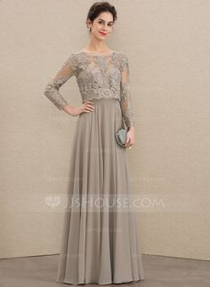 A-Line Scoop Neck Floor-Length Chiffon Lace Mother of the Bride Dress With Sequins - Mother of the Bride Dresses - JJ's House Mother Of The Bride Dresses Long, Wedding Dresses For Girls, Bridesmaid Dresses, Filipiniana Dress, Walima Dress, Floryday Vestidos, Muslimah Wedding Dress, Western Dresses For Women, Hijab Evening Dress
