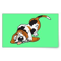 cartoon basset hound rectangular sticker