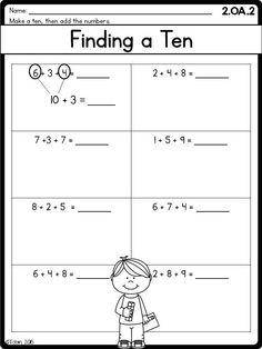 Mens home workout plan worksheets grade math worksheets operations and algebraic 3 addends finding a ten Addition Words, Math Addition, Addition And Subtraction, Addition Games, Fourth Grade Math, Second Grade Math, First Grade, Grade 2, 3rd Grade Math Worksheets