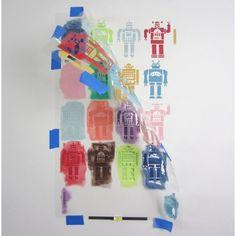 Robots Allover Stencil. $42.95. See more #nursery #stencils >> http://www.cuttingedgestencils.com/nursery-stencils-walls.html?utm_source=JCG&utm_medium=Pinterest&utm_campaign=Nursery%20Stencils