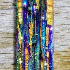 Original mixed media painting, abstract small canvas Octopus Garden #2, glass, tree branch, iridiscent , wall art, jewels, rhinestone