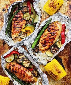 Chicken and Vegetables in Foil By @diethood 8 aluminum foil sheets large enough to wrap around one chicken breast 4 (4-ounces each) boneless, skinless chicken breasts 1/2-cup barbecue sauce (use your favorite) 1 zucchini, sliced into thin rounds 1 red, green or yellow bell pepper, cut into thin strips 8 asparagus spears salt and fresh ground pepper, to taste extra virgin olive oil Instructions Preheat the grill to medium-high heat. For each foil pack, prepare two sheets of aluminum foil…