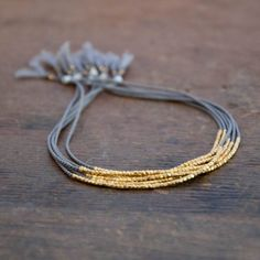 Delicate Gold on Gray Silk bracelet by Vivien Frank Designs
