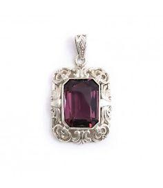 Aurora Patina Jugendstil hanger paarse steen