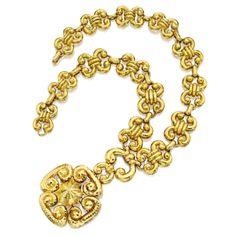 18 Karat Gold Necklace with 'Ru-Yi' Pendant-Brooch, David Webb | lot | Sotheby's