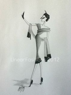 Original Fashion Illustration Art 1950s Cocktail by LinearFashions, $32.00