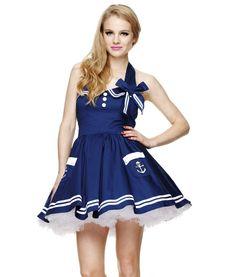 Hell Bunny Motley Sailor Mini Dress Navy Blue