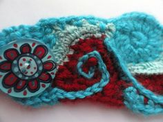 Red and Turquoise Freeform Crochet Cuff Bracelet By by anadiazarte, $30.00