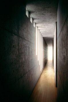 very cool use of lighting, concrete and wood to make an inviting hallway.  Koshino House by Tadao Ando