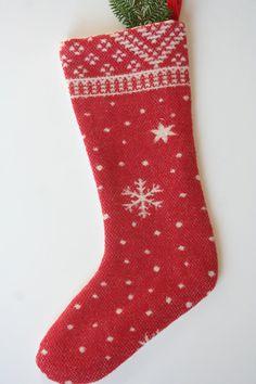 Red Wool Christmas Stocking  Snowflake  Star by WonderfulLifeFarm, $45.00