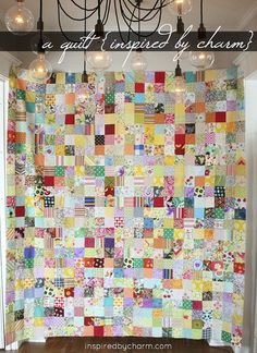 quilt made with scraps from friends around the world.