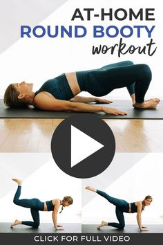 Build a strong, round booty at home with this guided BUTT WORKOUT for women! The perfect workout if you have downstairs neighbors, sleeping littles, or bad knees -- this NO JUMPING, no squats, no lunges workout can be done anywhere! Best Butt Lifting Exercises, Lifting Workouts, Leg Day Workouts, Band Exercises, Glute Exercises, Stability Exercises, At Home Glute Workout, Workout Videos, At Home Workouts