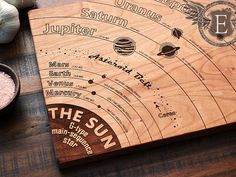Solar System Diagram Cutting Board with Planet Names Astronomy Art Geeky Christmas Gift Geekery Engraved Wood Kitchen Decor Science Art Solar System Diagram, Diy Cutting Board, Wood Cutting, Die Cutting, Space And Astronomy, Astronomy Science, Space Planets, Amazing Spaces, Science Art