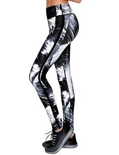 Yoga Reflex Active Womens Abstract Printed Yoga Workout Running Leggings Pants  AbstractBlackWhiteMulti  XLarge ** Want to know more, click on the image.