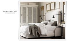 Rooms | Restoration Hardware; like the bed & bedside lights/ lamps (bedside tables need drawers & I don't like the armoire)