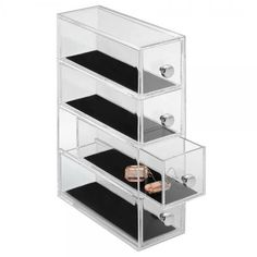Clarity Vanity Jewelry Organizer - Clear/Black / 4-Drawer Tower