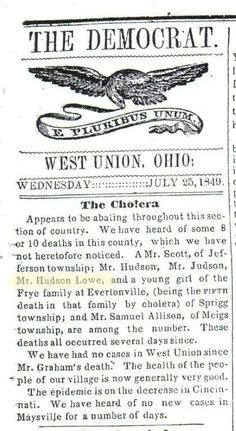 John Hudson Lowe. Who I'm  a decendent. 1849. Adams County, Ohio Wast Union Democrat News Paper.