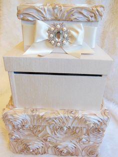 Blush & Champagne silk wedding card box xo embellishments invitations