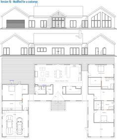 Small Modern Farmhouse, house plan, 232 Modern House Plan to Modern Family. New House Plans, Modern House Plans, House Floor Plans, Small House Design, Cool House Designs, Beautiful House Plans, Modern Farmhouse Plans, Concept Home, Maine House
