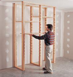 How to Install Utility Shelves Diy adustable shelving Diy Garage Storage, Diy Garage Shelves, Garage Organization, Organizing, Workshop Organization, Storage Ideas, Woodworking Projects Diy, Woodworking Shop, Utility Shelves
